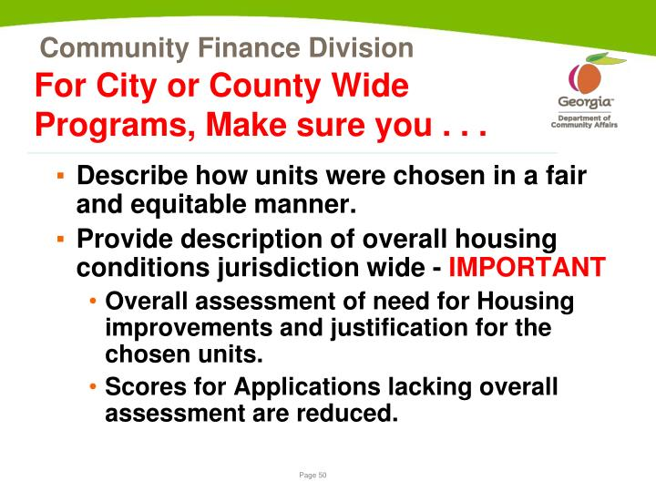 For City or County Wide Programs, Make sure you . . .
