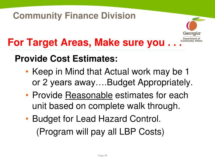 For Target Areas, Make sure you . . .