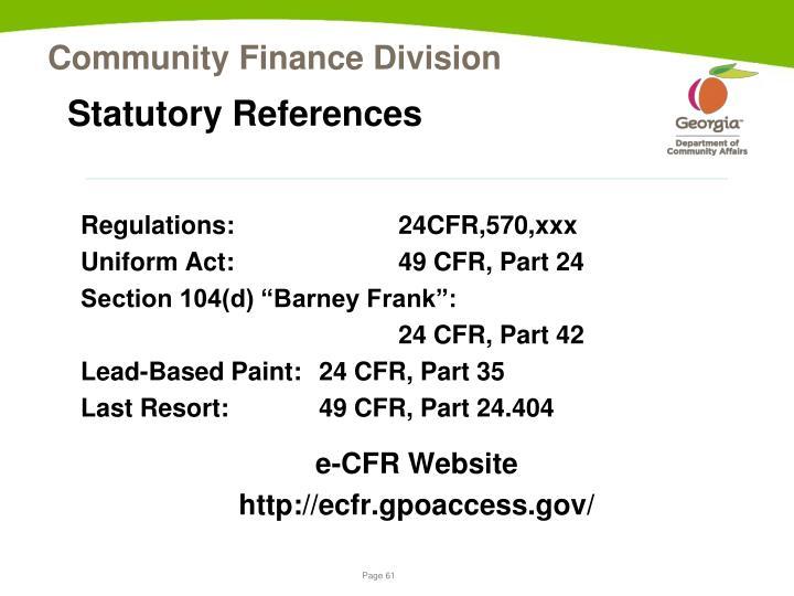 Statutory References