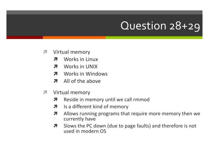 Question 28+29