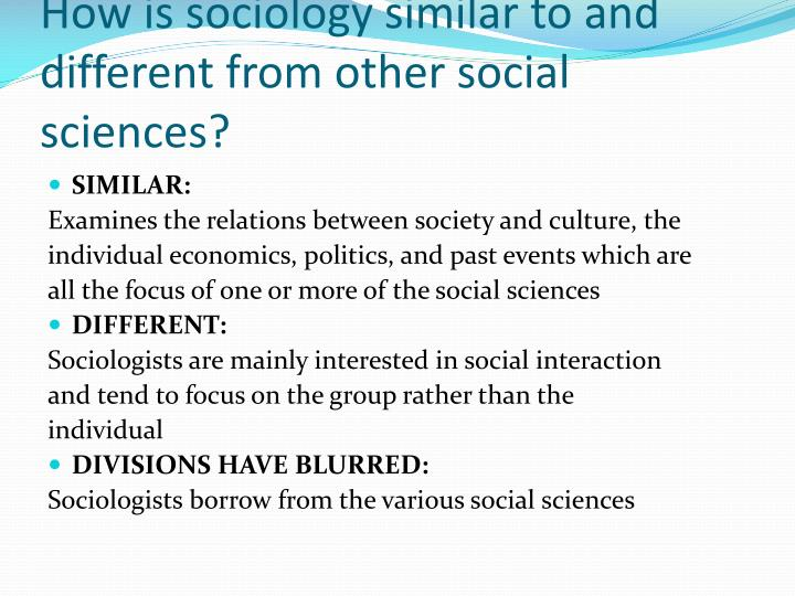 relationship between sociology and other social sciences