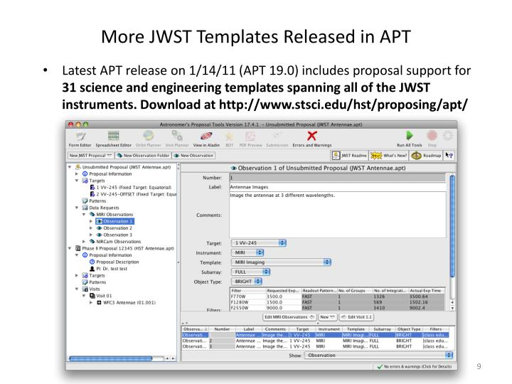 More JWST Templates Released in APT