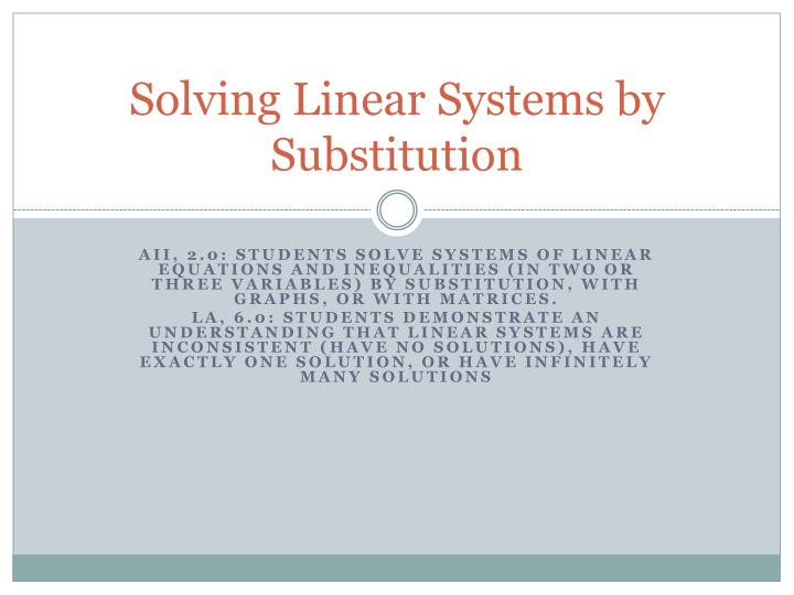 solving linear systems by substitution n.