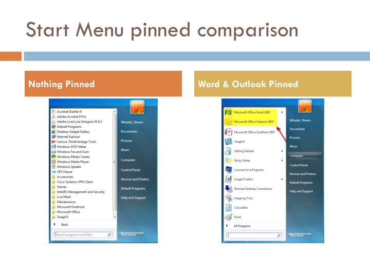 Start Menu pinned comparison