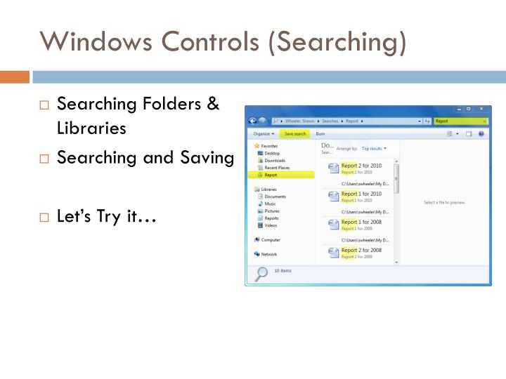 Windows Controls (Searching)
