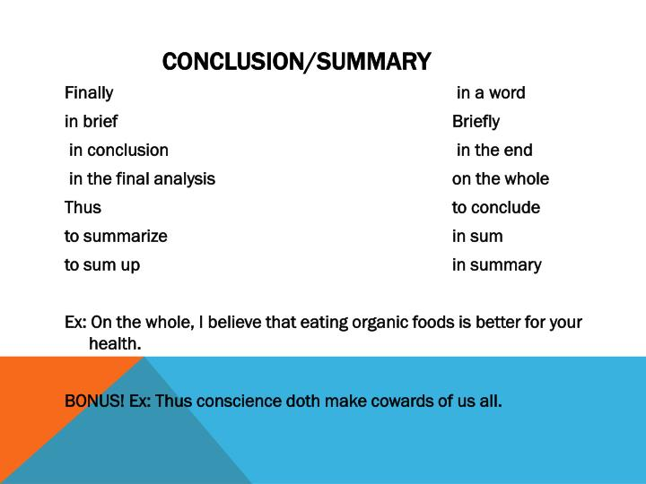 Conclusion/Summary