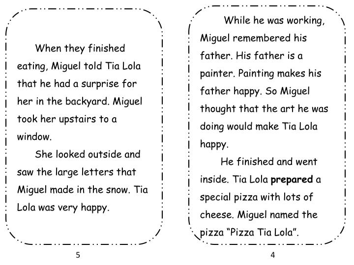While he was working, Miguel remembered his father. His father is a painter. Painting makes his father happy. So Miguel thought that the art he was doing would make Tia Lola happy.