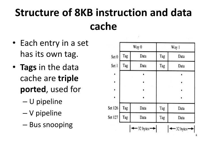 Structure of 8kb instruction and data cache
