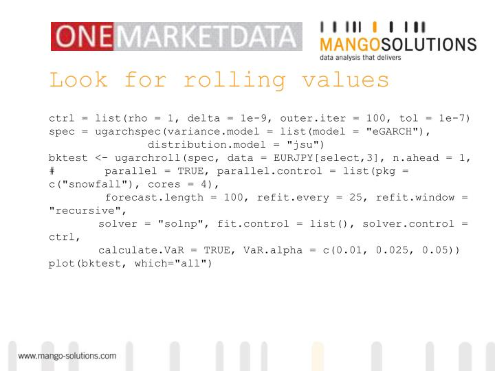 Look for rolling values