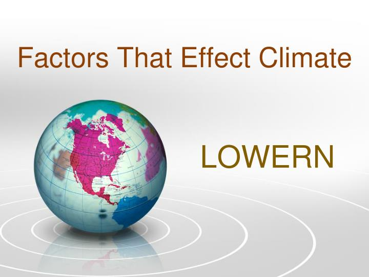Factors that effect climate