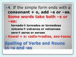 spelling of verbs and nouns in s and es5