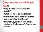 questions to ask while you read