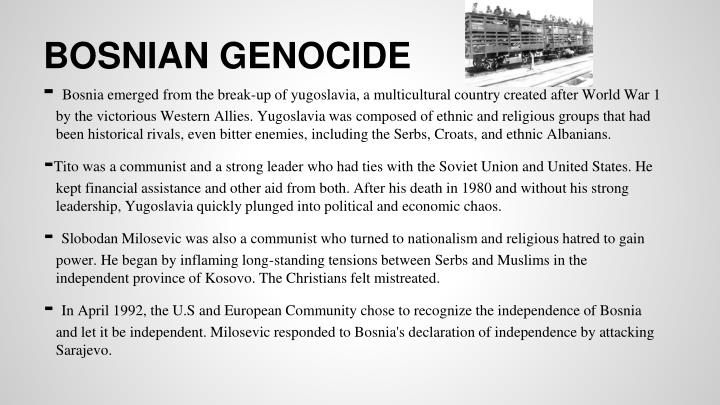 essay on bosnian genocide What was the gendercidal dimension of the bosnian genocide what happened at srebrenica in july 1995, and why in what ways was the campaign in kosovo in 1998-99 similar to the serbs' genocidal strategy in bosnia.