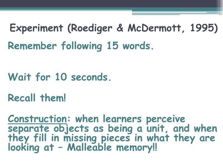 Experiment roediger mcdermott 1995