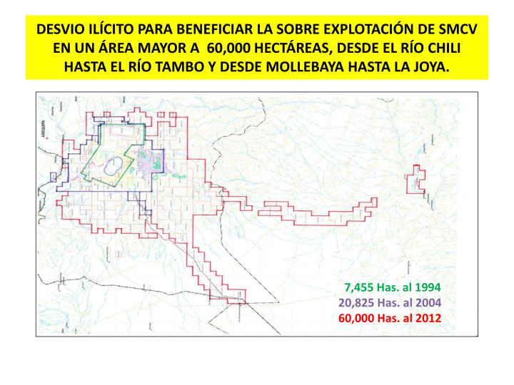 DESVIO ILÍCITO PARA BENEFICIAR LA SOBRE EXPLOTACIÓN DE SMCV EN UN ÁREA MAYOR A  60,000 HECTÁREAS, DESDE EL RÍO CHILI HASTA EL RÍO TAMBO Y DESDE MOLLEBAYA HASTA LA JOYA.