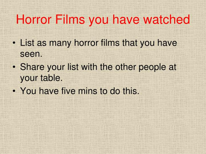 Horror Films you have watched