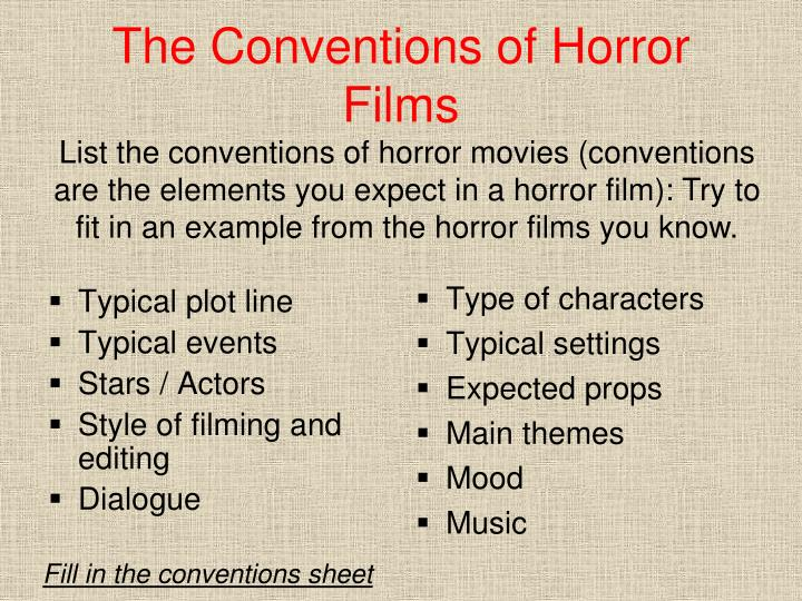 The Conventions of Horror Films