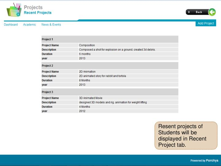 Resent projects of Students will be displayed in Recent Project tab.