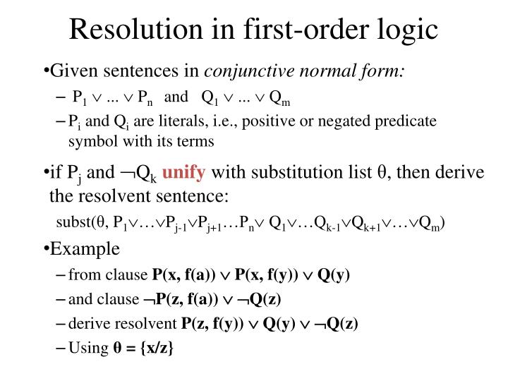 Ppt Resolution In Propositional And First Order Logic Powerpoint
