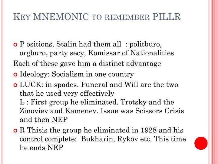 Key mnemonic to remember pillr
