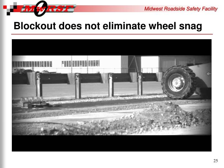 Blockout does not eliminate wheel snag