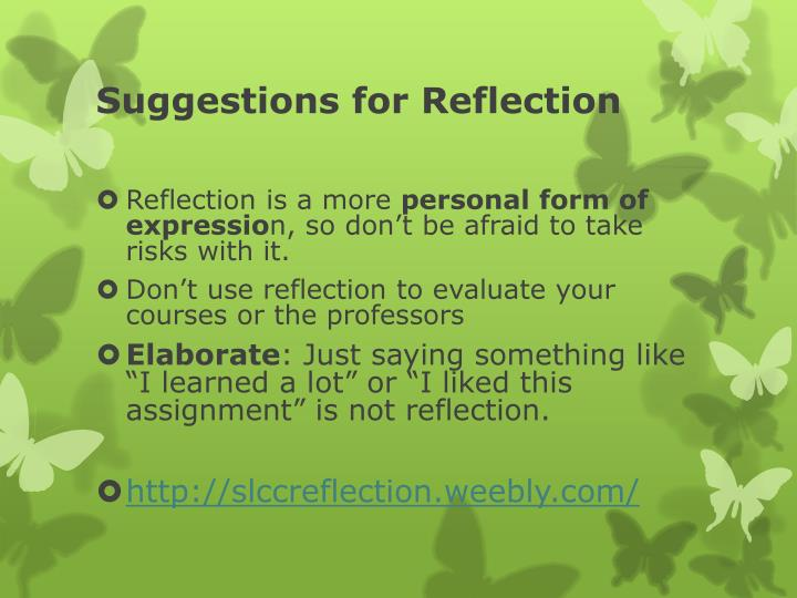 Suggestions for reflection1