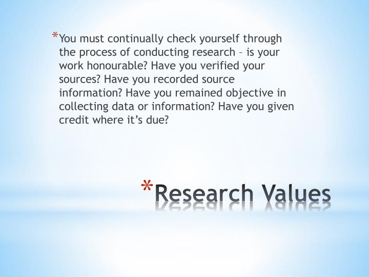 You must continually check yourself through the process of conducting research – is your work honourable? Have you verified your sources? Have you recorded source information? Have you remained objective in collecting data or information? Have you given credit where it's due?