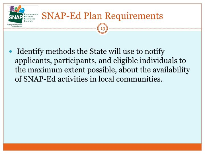 SNAP-Ed Plan Requirements