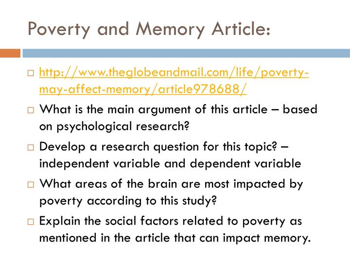 Poverty and Memory Article: