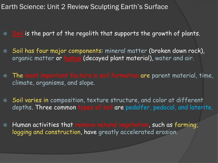 sculpting earths surface presentation Resources: wileyplus® geodiscoveries® create a 5-slide microsoft® powerpoint® presentation with presenter notes (no oral presentations are required) include the following: a description of a land feature anywhere on earth that has been sculpted by physical or chemical weathering processes a description of the particular processes.