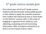 6 th grade science sample goal