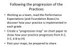 following the progression of the practices1