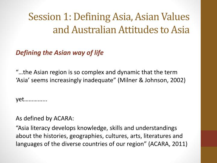 Session 1: Defining Asia, Asian Values and Australian Attitudes to Asia