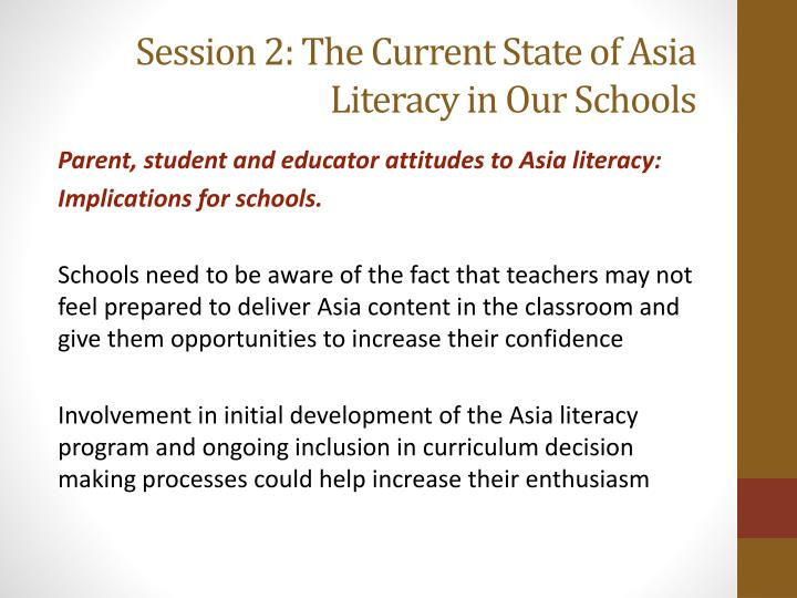 Session 2: The Current State of Asia Literacy in Our Schools