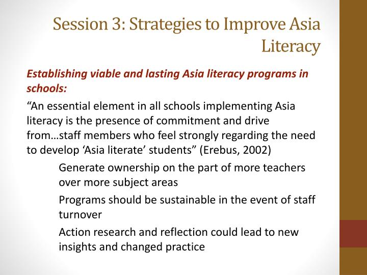 Session 3: Strategies to Improve Asia Literacy