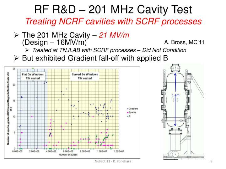 RF R&D – 201 MHz Cavity Test