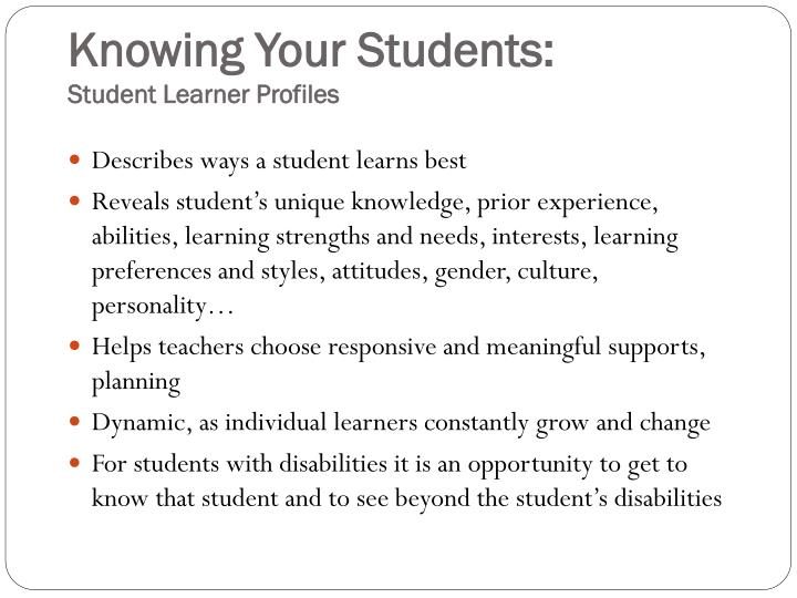 Knowing Your Students: