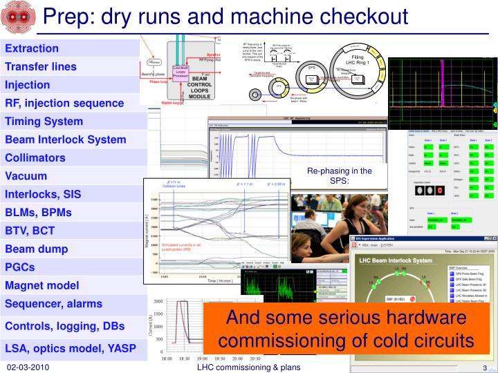 Prep dry runs and machine checkout
