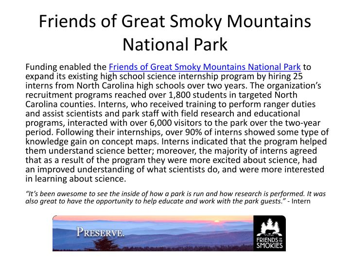 friends of great smoky mountains national park n.