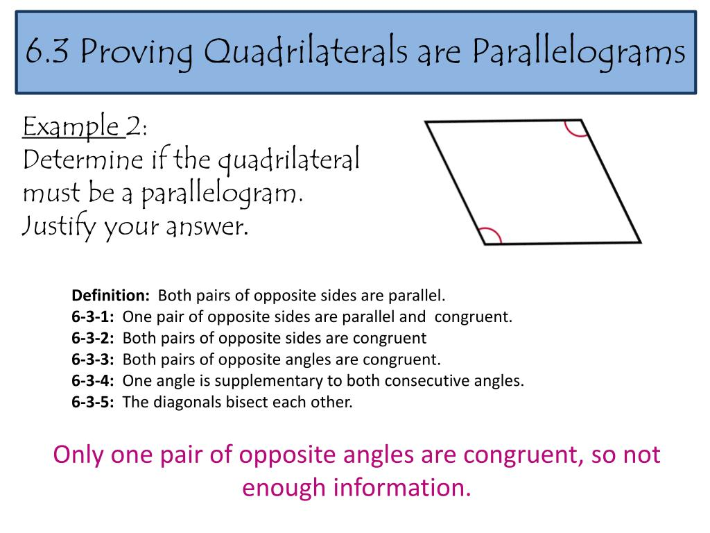 PPT - 6 3 Proving Quadrilaterals are Parallelograms