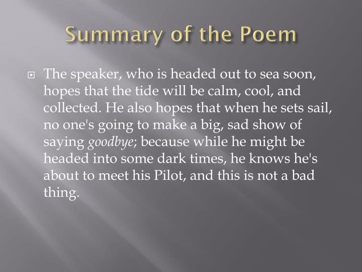 tennyson poem crossing the bar