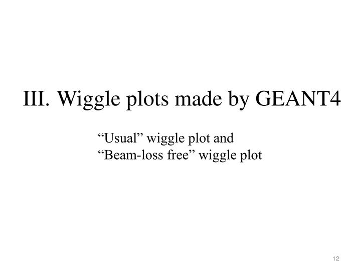 Wiggle plots made by GEANT4