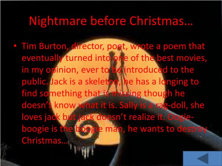 Nightmare before Christmas…