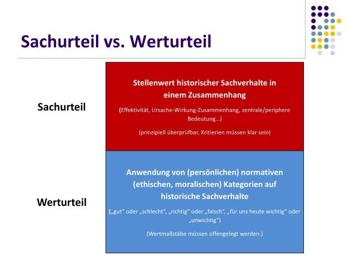 Sachurteil vs. Werturteil