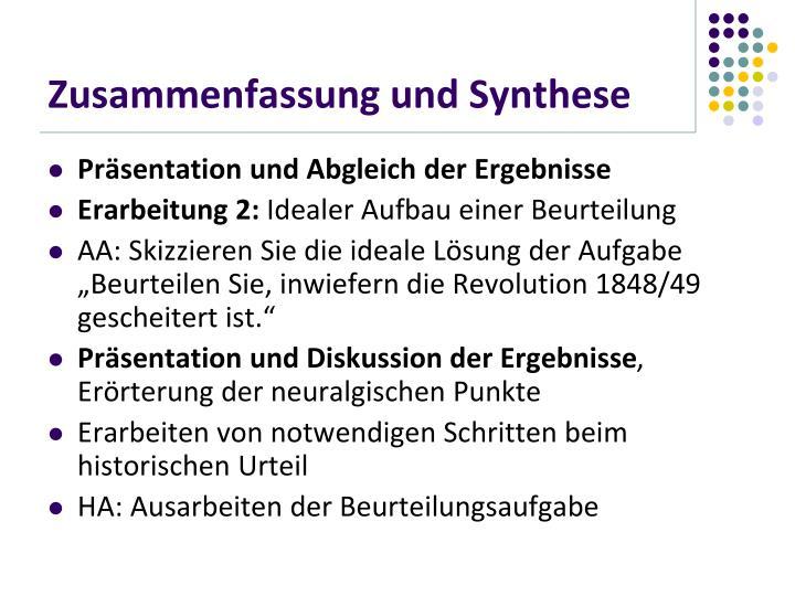 Zusammenfassung und Synthese