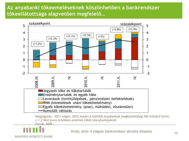 Az anyabanki tőkeemeléseknek köszönhetően a bankrendszer tőkeellátottsága alapvetően megfelelő…