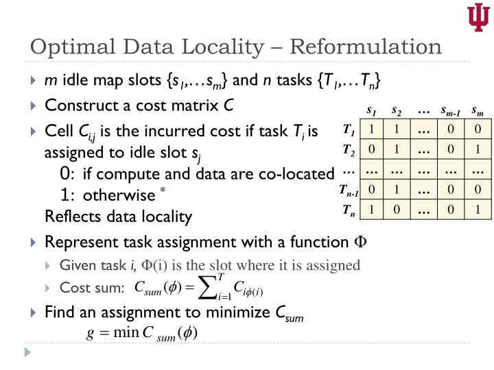 Optimal Data Locality – Reformulation
