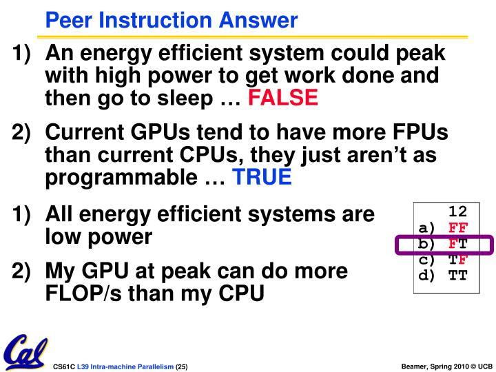 Peer Instruction Answer