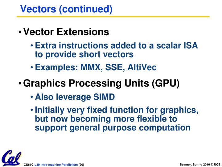Vectors (continued)