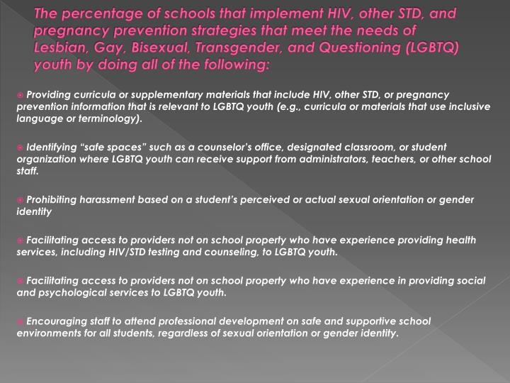 The percentage of schools that implement HIV, other STD, and pregnancy prevention strategies that meet the needs of  Lesbian, Gay, Bisexual, Transgender, and Questioning (LGBTQ) youth by doing all of the following: